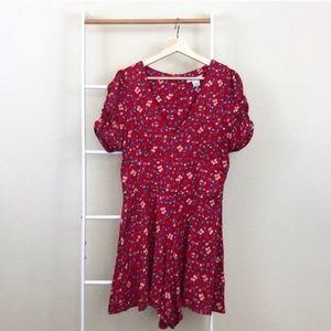 Glamorous Red Floral Print Flowy V Neck Romper